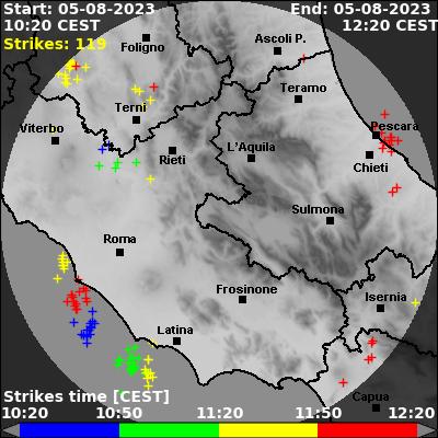 Mappa fulmini ultime 2 ore centro Italia