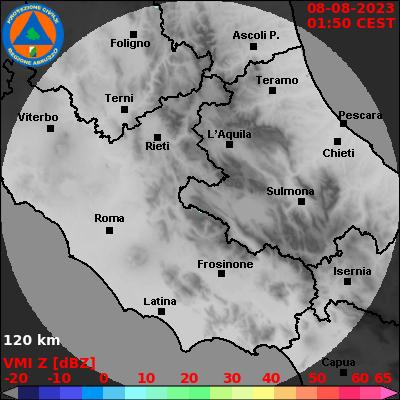 Composito rete RADAR meteorologici centro Italia